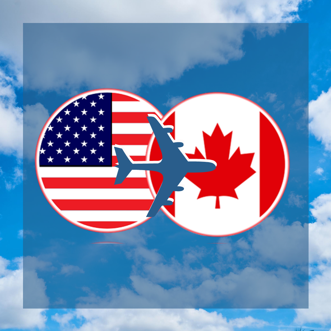 USA flag Canada flag with info about travel restriction during covid19